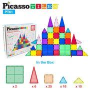 PicassoTiles™ Set de juego de 61 unidades magnéticos trasnparentes. Bloques de construcción 3D Creatividad más allá de la imaginación, inspirador, recreativo, educativo, convencional PT61