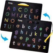 Tablero 2 en 1 de alfabeto magnético de doble cara ABC A-Z mayúscula y minúscula, tablero de lectura de letras con imán grande para tableta de aprendizaje