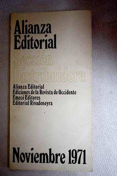 portada Alianza Editorial. Sección Distribuidora. Nobiembre, 1971